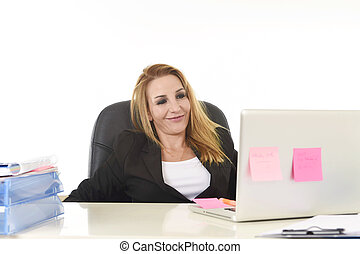 happy relaxed 40s businesswoman smiling confident working at laptop computer
