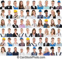 People With Different Profession In Row - Set Of People With...