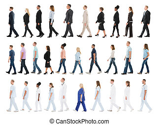 Collage Of People Walking In Line - Collage Of People From...