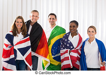 Friends With Flags From Different Countries - Group Of Happy...