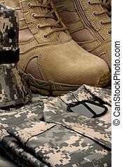 deserto, tático, botas, militar, tag, correntes