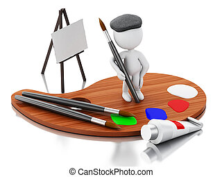 3d White people artist painting on color palette.