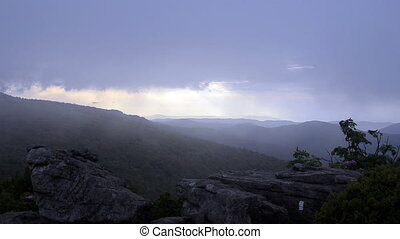 Fog blowing over Jane Bald at Sunse - Fog blows in as sunset...