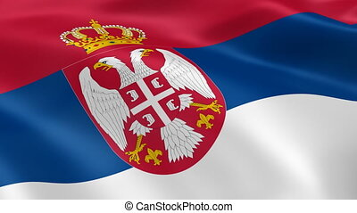 Serbian flag in the wind. Part of a series.