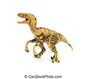 Velociraptor, juguete, amarillo, Plano de fondo, blanco,...