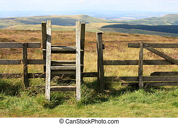 ladder stile across fence in Cheviot Hills in Northumberland