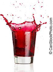 Red beverage splash