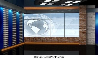 News TV Studio Set- - News TV Studio Set 68 - Virtual Green...