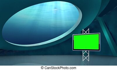 News TV Studio Set - - News TV Studio Set 67 - Virtual Green...