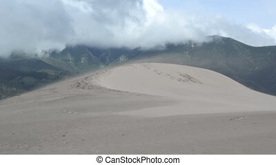 Saltation off of Sand Dune - Slow motion of sand blowing off...