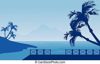 Blue silhouette of seaside scenery