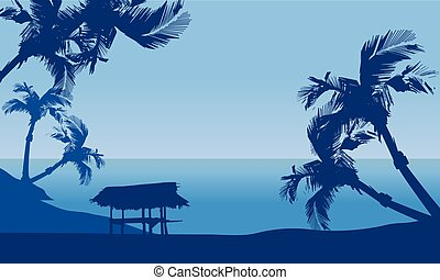 Hut in seaside scenery silhouette