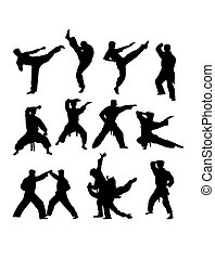 Martial Art Silhouettes. art vector design