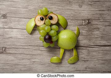 perro, hecho, de, manzana, uva, y, plátano, en,...