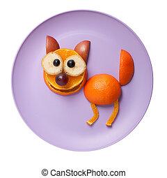gato, hecho, de, manzana, y, naranja, en, rosa, placa,