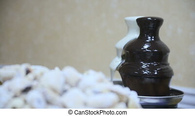 Chocolate fountains with biscuit