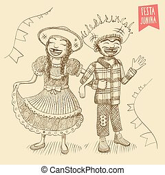 Hand drawn Young Hick Couple - For brazilian typical June /...
