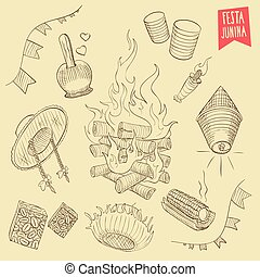 June Party Icons - Hand drawn set - June Party / St. John's...