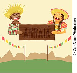 Couple Holding Sign - Brazilian June Party Theme Design...