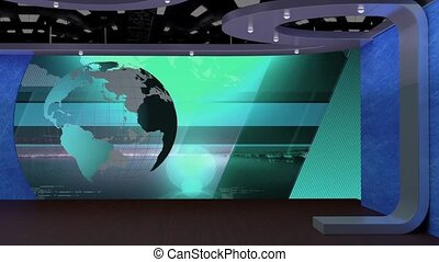 News TV Studio Set- - News TV Studio Set 69 - Virtual Green...