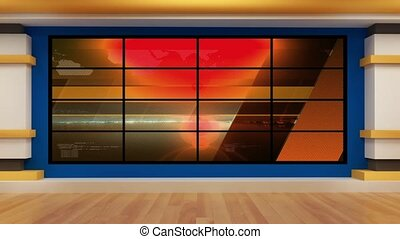 News TV Studio Set - - News TV Studio Set 74 - Virtual Green...