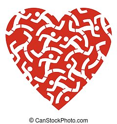 I love runnig - Red heart with icons of running people....