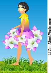 flower girl, - composition with girlfriend dress with...