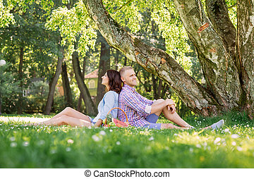 Couple enjoying their relationship while having picnic in...