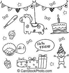 Birthday doodle vector art