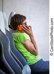 Calling woman on trainer and reserves bench - Calling woman...