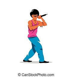 Vector Rap Battle Cartoon Illustration - Man with microphone...