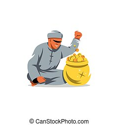 Vector Rich man from the UAE Cartoon Illustration. - Arab...