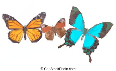 Peacock, monarch and Sea Green Swallowtail butterflies - Low...
