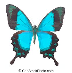 Sea Green Swallowtail butterfly - Low poly illustration of...