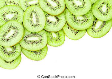 Kiwi fruit slices. - Kiwi fruit slices on white background...