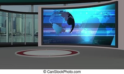 News TV Studio Set- - News TV Studio Set 79 - Virtual Green...