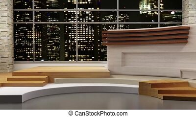 News TV Studio Set- 80 - News TV Studio Set 80 - Virtual...