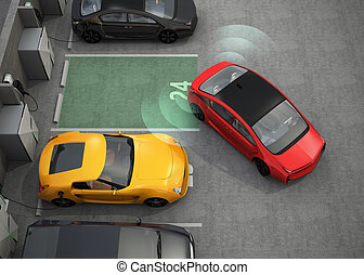 Red car in parking space