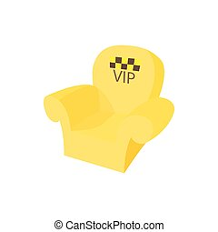 VIP taxi armchair icon, cartoon style - VIP taxi armchair...