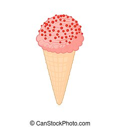 Strawberry ice cream icon, cartoon style - Strawberry ice...