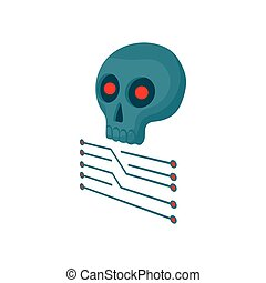 CPU with a skull icon, cartoon style - CPU with a skull icon...