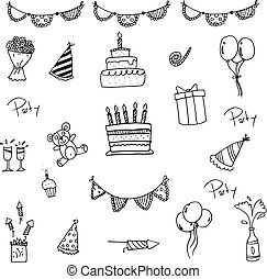 Doodle of set birthday for kids