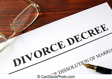 Divorce decree form on a wooden background