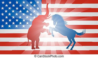 American Election Concept - A donkey and elephant fighting...