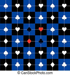 Card Suits Blue Black White Chess Board Background Vector...