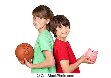 Two brothers with money-box isolated on white background