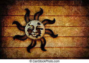 Pagan Sun Symbol background with Texture Added - A broken,...