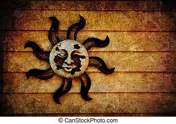 heidnisch, sonne, symbol, hintergrund, Beschaffenheit,...