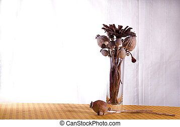 autoumnal interior decoration with dried flowers