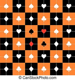 Card Suits Orange Black White Chess Board Background